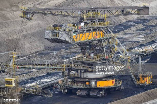 A view of the Jaenschenwalde soft coal opencast mining facility operated by the Lausitz Energy Mining Corporation formerly run by Vattenfall near...