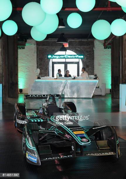 A view of the Jaguar ITYPE at the Jaguar Formula E RECharge Event at The Liberty Warehouse on July 14 2017 in the Brooklyn borough of New York City...