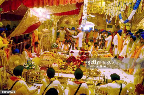 A view of the Jalau displayed in the sanctum sanctorum at Golden Temple on the occasion of birth anniversary of Guru Ram Das founder of the holy city...