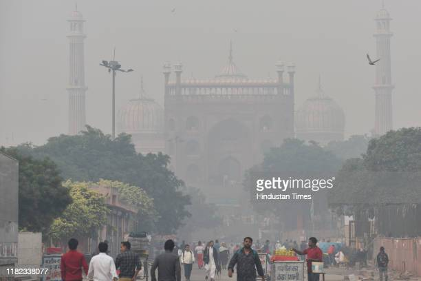 A view of the Jama Masjid engulfed in dense smog on November 14 2019 in New Delhi India