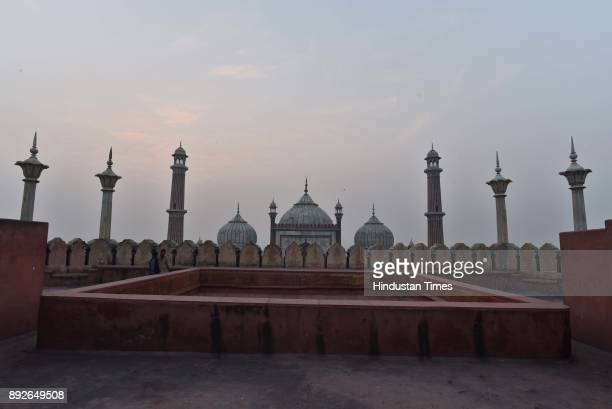 A view of the Jama Masjid on December 13 2017 in New Delhi India The 17th century mosque built by Mughal emperor Shahjahan has started degenerating...