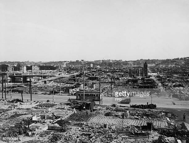 A view of the Japanese city of Yokohama after the 'Great Yokohama Air Raid' of 29th May 1945 A third of the city was destroyed when US B29...