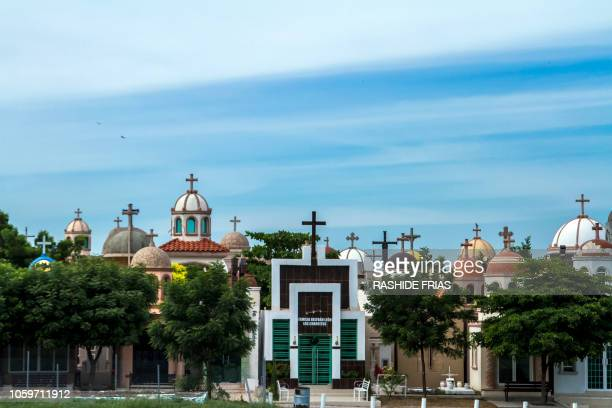 View of the Jardines del Humaya cemetery in Culiacan Sinaloa state Mexico on October 22 2018 In spite of being in New York where he awaits trial...
