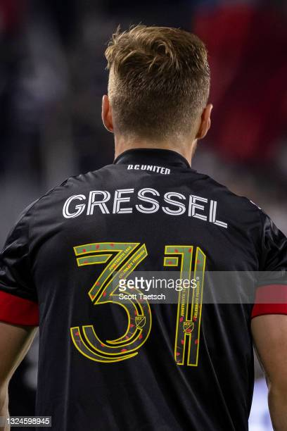 View of the jersey worn by Julian Gressel of D.C. United in honor of Juneteenth during the second half of the MLS game against Inter Miami at Audi...