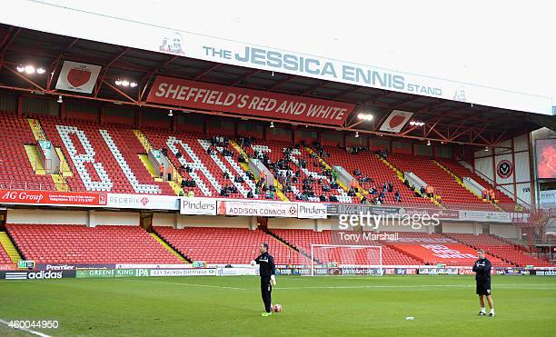 A view of the Jessica Ennis Stand at Bramall Lane Home of Sheffield United FC during the FA Cup Second Round match between Sheffield United and...