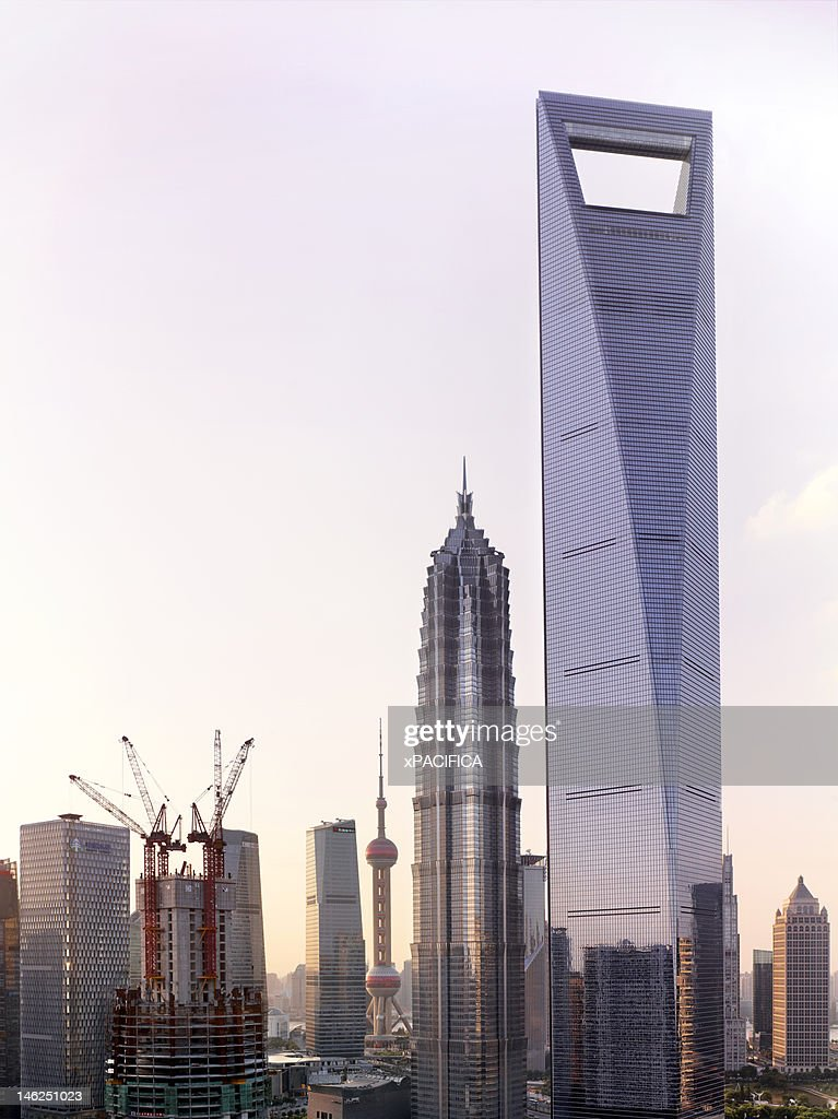 A view of the Jin Mao Tower and the Shanghai World : Stock Photo