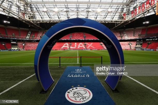 A view of the Johan Cruijff ArenA before the game Ajax v Tottenham Hotspur UEFA Champions League Semi Final Second Leg Johan Cruijff ArenA