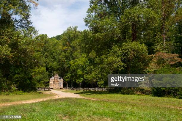 View of the John Oliver cabin from the 1820s in Cades Cove Great Smoky Mountains National Park in Tennessee USA