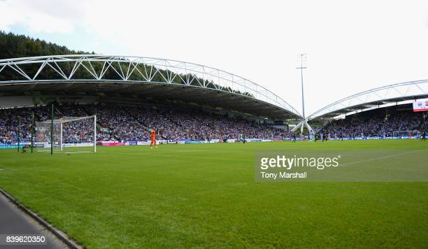 A view of The John Smith's Stadium during the Premier League match between Huddersfield Town and Southampton at John Smith's Stadium on August 26...