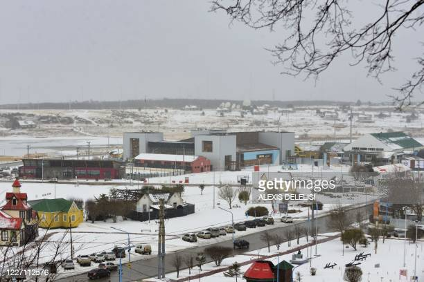 View of the Jose Vargas stadium which has been prepared with 70 beds for people infected with the novel coronavirus COVID19 in Ushuaia Tierra del...
