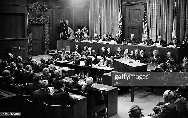 View of the judges bench in Nuremberg International Military Tribunal court taken in September 1946 during the war crimes trial of nazi leaders...