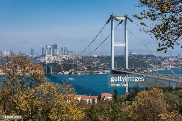 view of the july 15 martyrs' bridge in istanbul, turkey - istanbul stock pictures, royalty-free photos & images