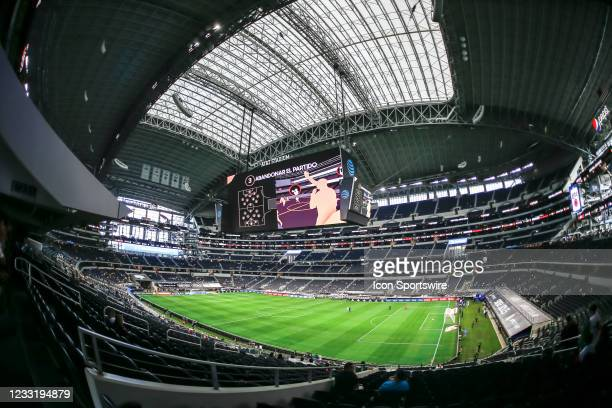 View of the jumbo screen inside the AT&T Stadium before the game between Mexico and Iceland on May 29, 2021 at AT&T Stadium in Arlington, Texas.