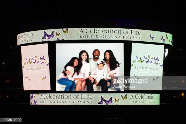 A view of the jumbotron at the Staples Center during the Kobe Bryant Memorial Service on February 24 2020 in Los Angeles California NOTE TO USER User...