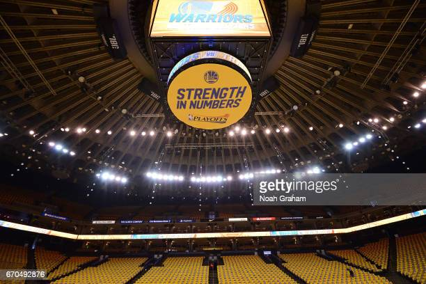 View of the jumbotron before the game between the Golden State Warriors and the Portland Trail Blazersduring Game Two of the Western Conference...