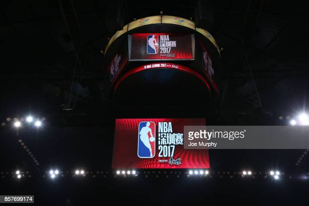 A view of the jumbotron of the Minnesota Timberwolves against the Golden State Warriors as part of the 2017 Global Games China on October 5 2017 at...