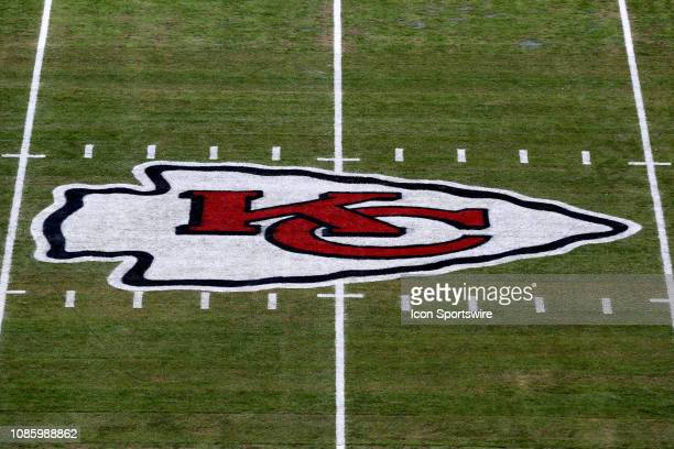 A view of the Kansas City Chiefs logo at midfield before the AFC Championship Game game between the New England Patriots and Kansas City Chiefs on...