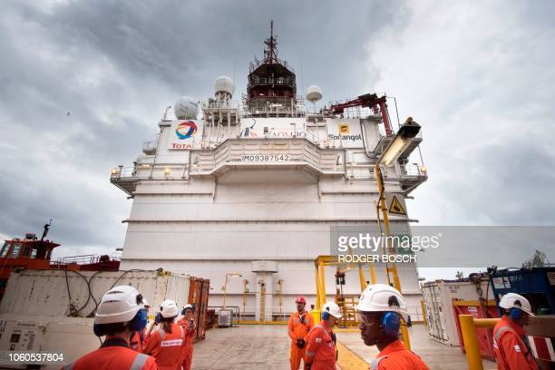 A view of the Kaombo Norte a Floating Production Storage and Offloading vessel a project operated by Total the French multinational oil company on...