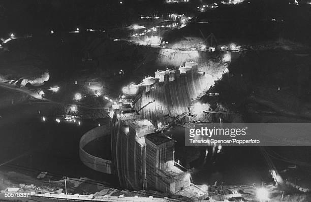 View of the Kariba Dam at night.