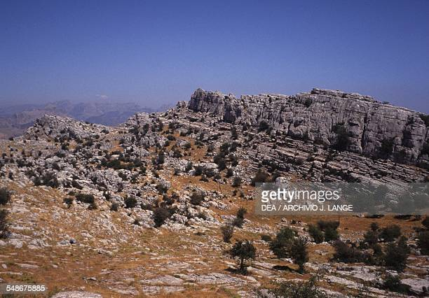 View of the karst rock formations in the Torcal de Antequera nature reserve Andalucia Spain