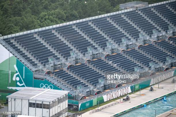 View of the Kasai Canoe Slalom Centre, the main venue for canoe slalom during the Tokyo 2020 Olympic games, in Tokyo on July 11, 2021.