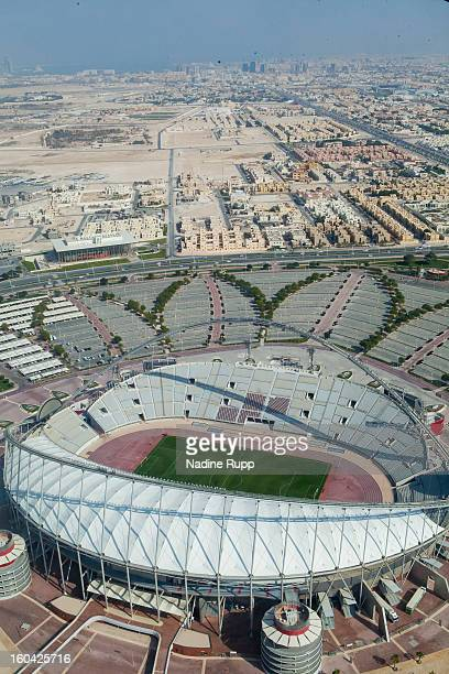 View of the Khalifa football stadium is taken at the ASPIRE Academy for Sports Excellence on January 6, 2013 in Doha, Qatar. ASPIRE Zone, also knowmn...