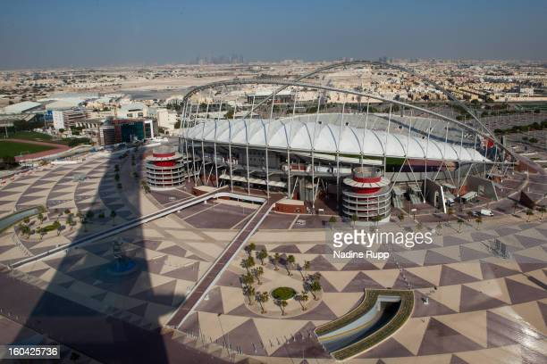 View of the Khalifa football stadium is taken at the ASPIRE Academy for Sports Excellence on January 6 2013 in Doha Qatar ASPIRE Zone also knowmn as...
