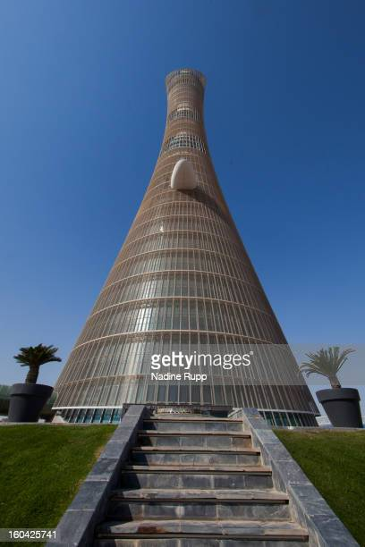 View of the Khalifa Tower, now called The Torch hotel is taken at the ASPIRE Academy for Sports Excellence on January 6, 2013 in Doha, Qatar. ASPIRE...