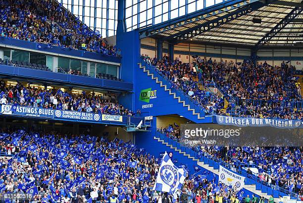 A view of the Kick It Out logo on the stands during a Pre Season Friendly match between Chelsea and Fiorentina at Stamford Bridge on 5th August 2015...