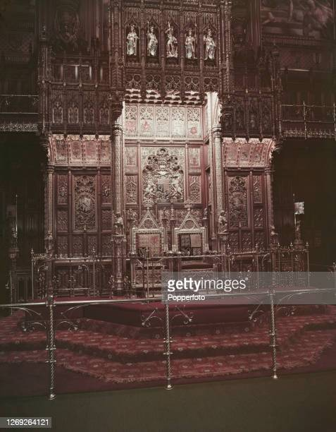 View of the King's Throne also known as The Sovereign's Throne and Queen's Throne with gilded canopy behind in the restored and redecorated House of...