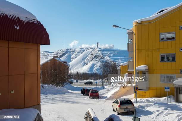 View of the Kiruna city center in Swedish Lapland northern Sweden which will be relocated because the Kirunavaara mine is undermining the town