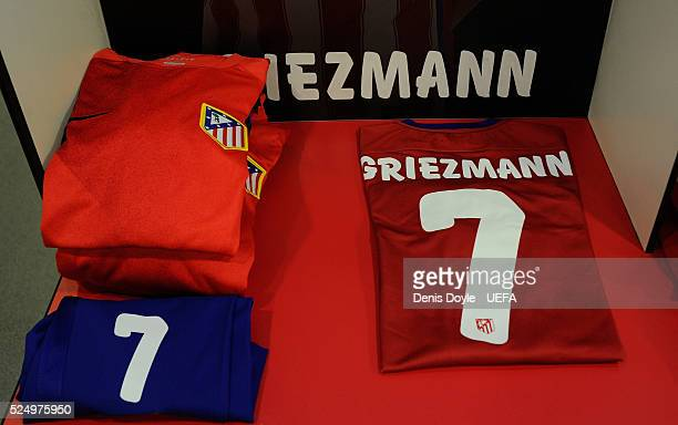 View of the kit of Antoine Greizmann of Club Atletico de Madrid in the dressing room at the Vicente Calderon stadium ahead of the UEFA Champions...
