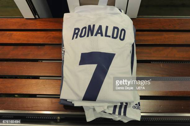 View of the kit of Cristiano Ronaldo of Real Madrid CF in the team dressing room ahead of the UEFA Champions League Semi Final first leg match...