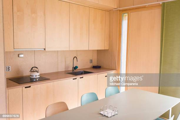 View of the kitchen inside of a zeroemissions home which was built for an exhibition during the 2017 Starmus Festifval on June 22 2017 in Trondheim...