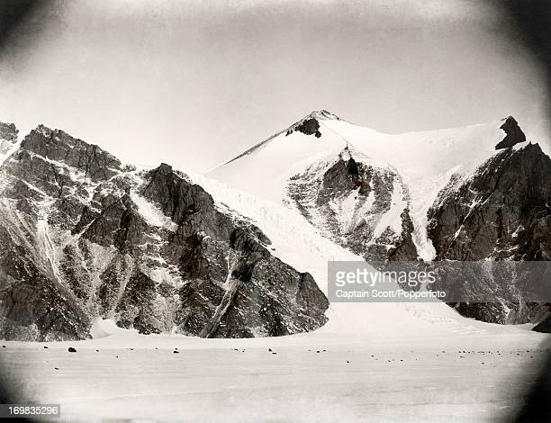 A view of the Kitticarrara Glacier on the Ferrar Glacier phoographed during the last tragic voyage to Antarctica by Captain Robert Falcon Scott circa...