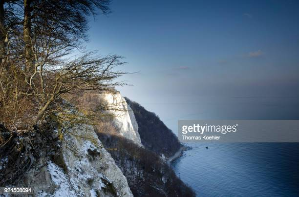 View of the Koenigsstuhl in winter in the Jasmund National Park on the island of Ruegen on February 07 2018 in Glowe Germany