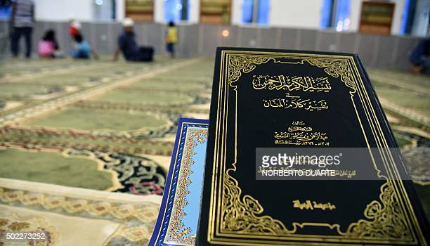 View of the Koran at the newly inaugurated mosque in Ciudad del Este on December 18 2015 The Alkhaulafa AlRashdeen mosque built with funds from the...