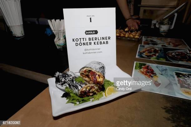 A view of the Kotti Berrliner Doner Kebab setup in the Dekalb Market Hall popup at 1 Hotel Brooklyn Bridge on April 22 2017 in Brooklyn