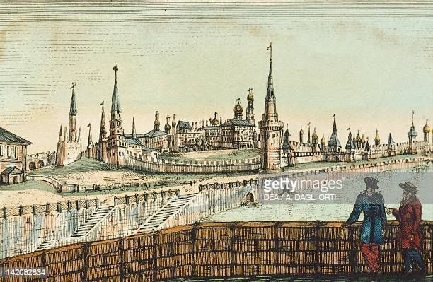 View of the Kremlin in Moscow Russia 19th century Print