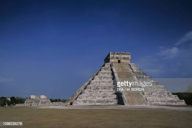 View of the Kukulcan Pyramid with the Temple of the Warriors in the background archaeological site of Chichen Itza Yucatan Mexico Mayan civilization