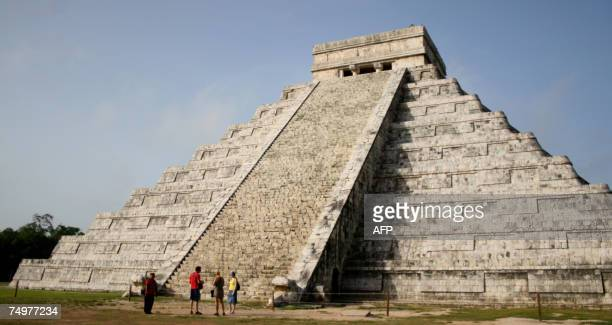 View of the Kukulcan Temple in the archaeological site of Chichen Itza state of Yucatan on June 25th 2007 The Kukulcan Temple is among the leading...