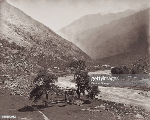 A view of the Kullu Valley and the Beas River in the Himalayas Himachal Pradesh India 1866 Vintage albumen print