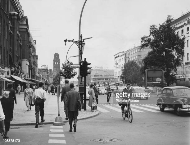 View of the Kurfurstendamm, West Berlin, circa 1955.