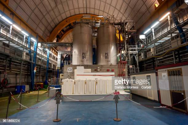View of the laboratory under Gran Sasso where experiments on the Borexino and solar neutrinos in Assergi on May 23, 2018 Italy. Gran Sasso National...