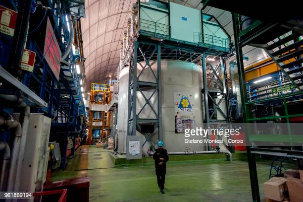 View of the laboratory under Gran Sasso where experiments on the Germanium Detector Array , experiment is searching for neutrinoless double beta...