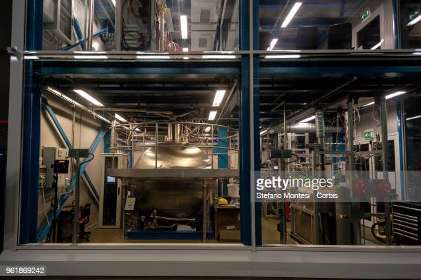 View of the laboratory under Gran Sasso where experiments on the Xenonit enlightening the dark in Assergi on May 23, 2018 Italy. Gran Sasso National...