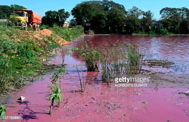 View of the Lago Cerro, coloured by alleged chemical disposals from a tannery located on its banks, in Limpio, 25 km northeast of Asuncion, Paraguay,...