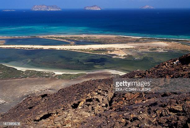 View of the lagoon and the Red Sea from the volcano on the island of Saba, Al-Zubair archipelago, Yemen.