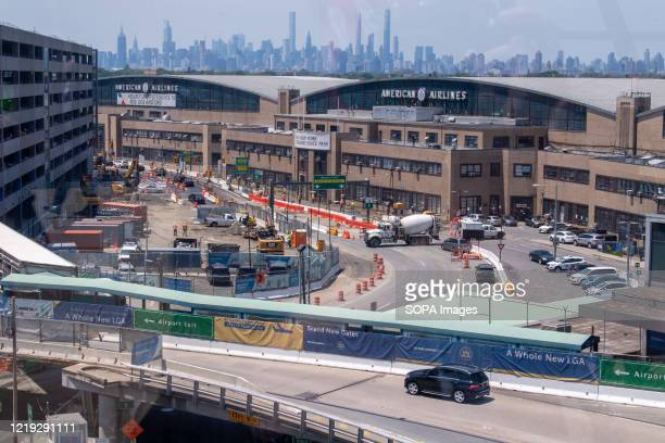 View of the LaGuardia Airport's brand-new state-of-the-art Terminal B arrivals and departures hall under construction. Construction of new redesigned...