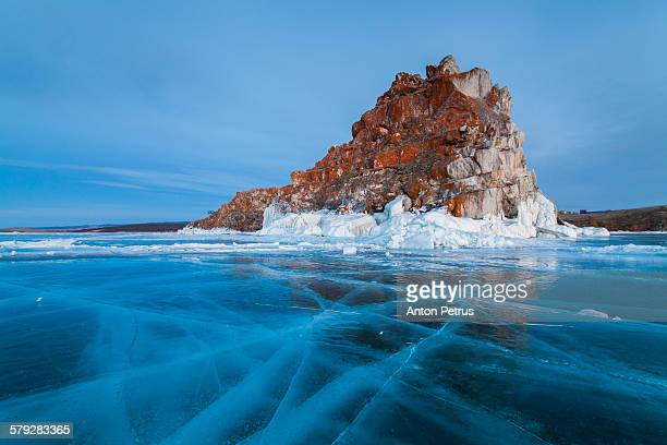 view of the lake and the icy rock. lake baikal. - anton petrus stock pictures, royalty-free photos & images